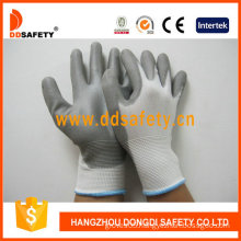 Nylon/Polyester PU Coated on Palm and Fingers Gloves (DPU108)